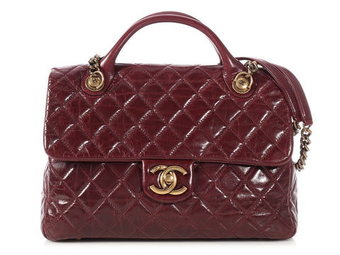 Chanel Burgundy Quilted Glazed Calfskin Castle Rock Flap