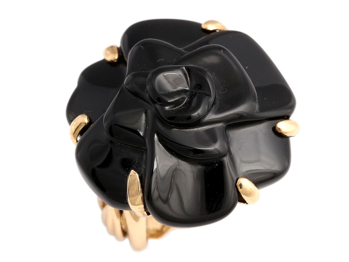 Chanel 18K Gold and Black Onyx Camellia Ring