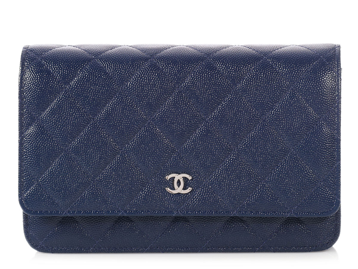 Chanel Navy Quilted Caviar Wallet on a Chain WOC