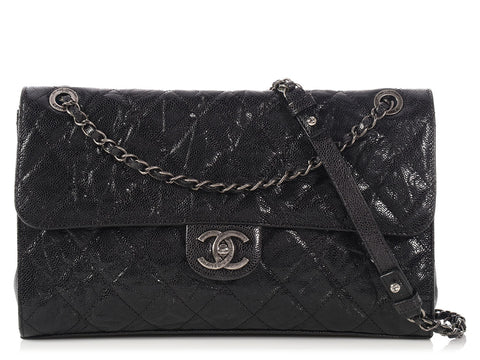 Chanel Black Glazed Quilted Calfskin Crave Flap