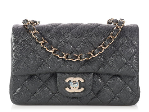 Chanel Dark Gray Quilted Caviar Mini Classic