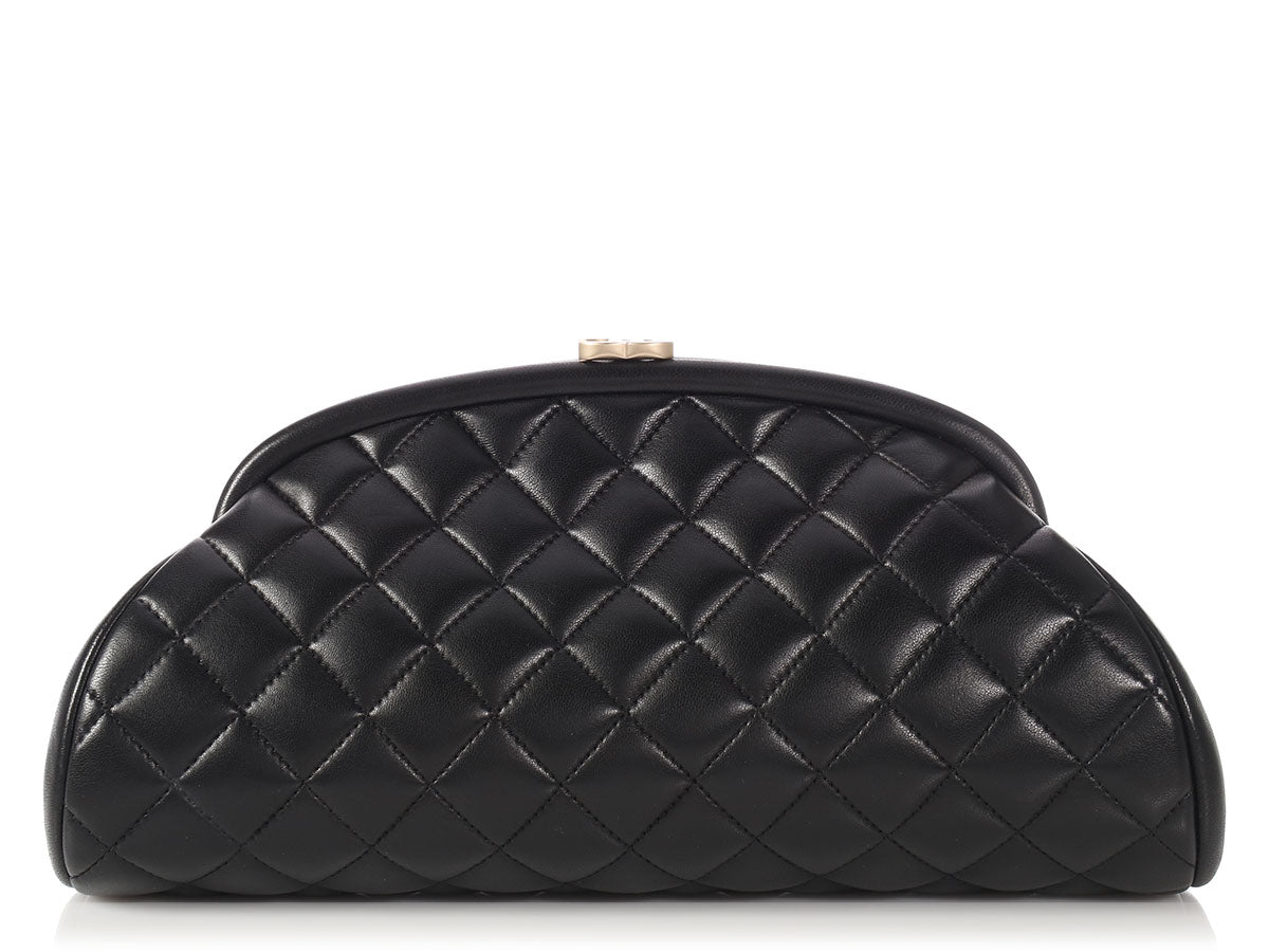 Chanel Black Quilted Lambskin Timeless Clutch