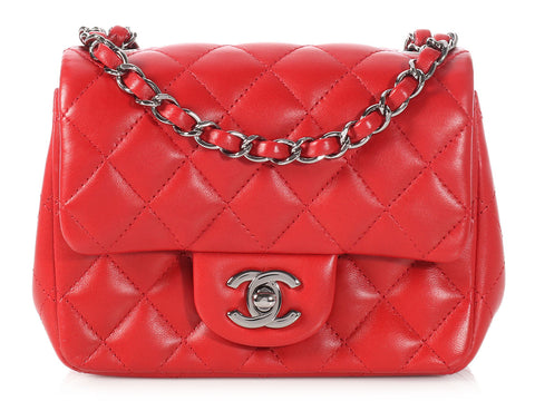 Chanel Red Quilted Lambskin Mini Classic