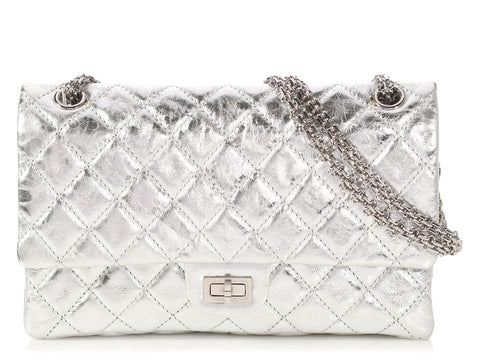 Chanel Silver Quilted Distressed Calfskin Reissue 226