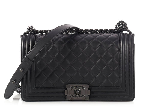 Chanel Old Medium So Black Quilted Lambskin Boy