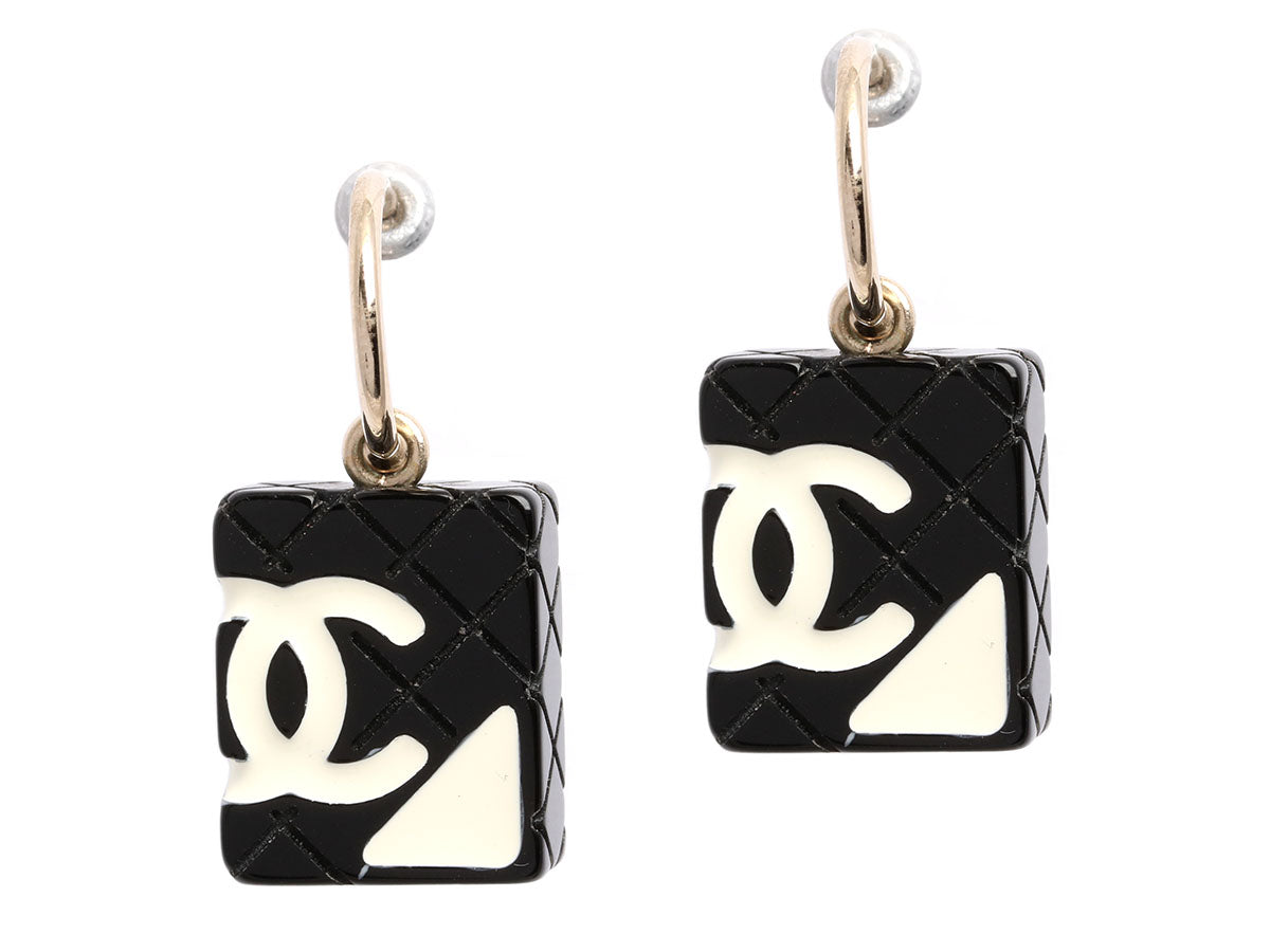 Chanel Black and White Quilted Logo Cambon Earrings