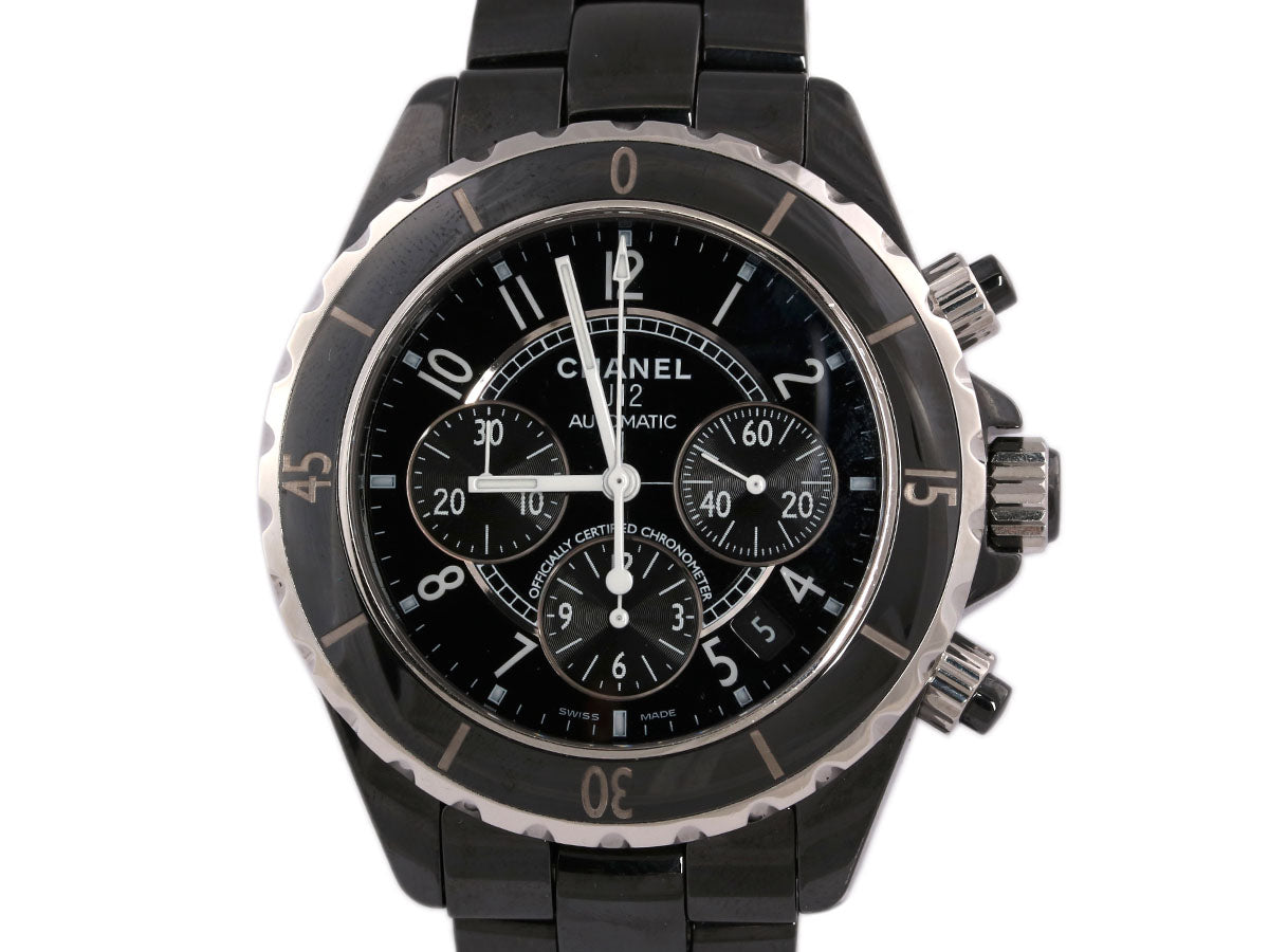 Chanel Black Ceramic Chronograph J12 Watch 42mm