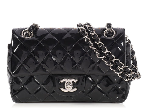 Chanel Black Patent Quilted Mini Classic