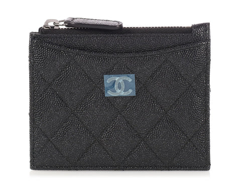 Chanel Black Quilted Caviar Classic O-Card Holder