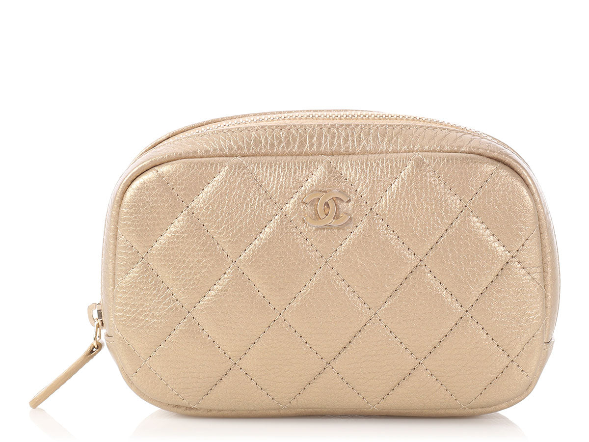 bcd4f388b07573 Chanel Gold Quilted Soft Caviar O-Case Cosmetic Pouch