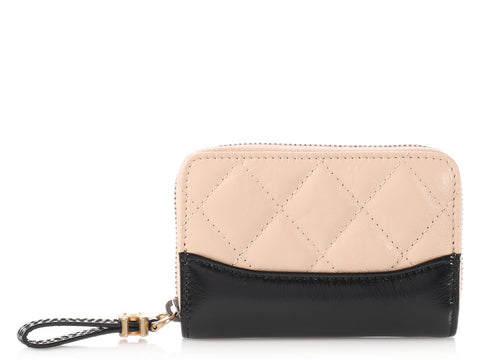 Chanel Beige and Black Gabrielle O-Coin Case