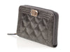 Chanel Small Dark Silver Quilted Distressed Boy Zip Wallet