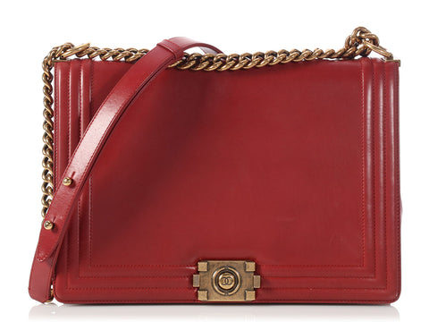 Chanel Large Red Lambskin Boy Bag