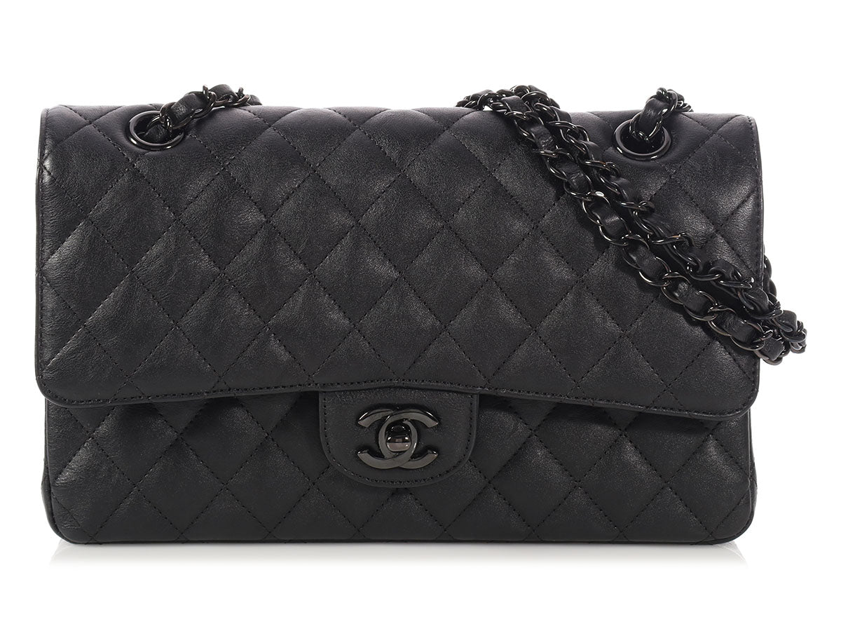 Chanel Medium/Large So Black Crumpled Calfskin Classic Double Flap