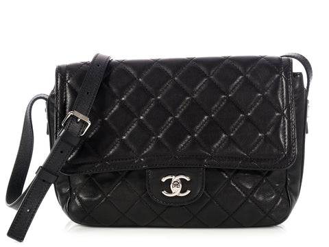 Chanel Black Lambskin Soft Messenger Bag