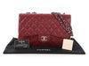 Chanel Jumbo Dark Red Quilted Caviar Classic Single Flap