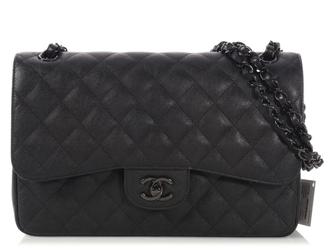 Chanel Jumbo So Black Crumpled Quilted Calfskin Classic Double Flap