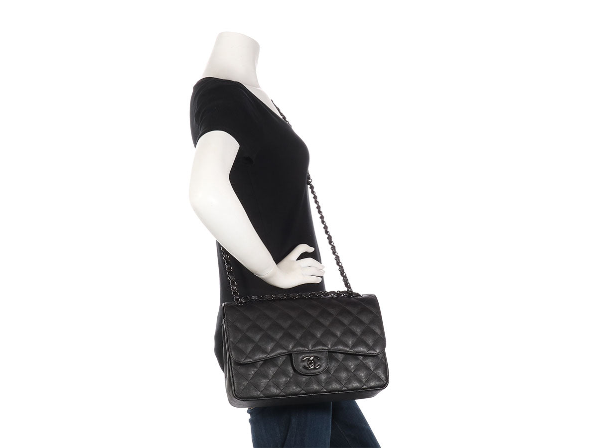 13b6a1699e7c Chanel Jumbo So Black Crumpled Quilted Calfskin Classic Double Flap
