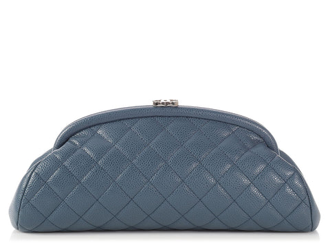 Chanel Blue-Gray Quilted Caviar Timeless Clutch