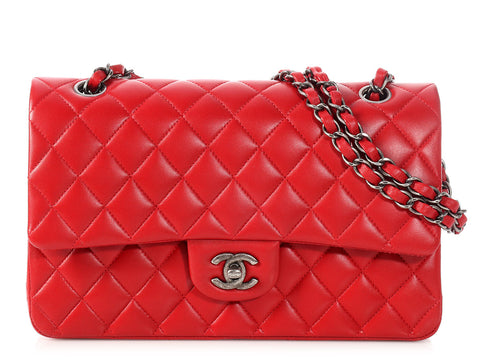 Chanel Medium/Large Dark Red Quilted Lambskin Classic Double Flap