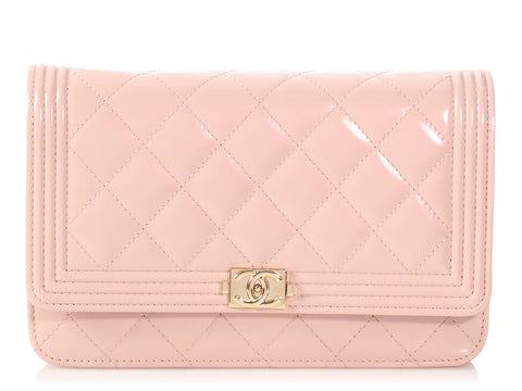 Chanel Light Pink Quilted Patent Boy Wallet on a Chain WOC