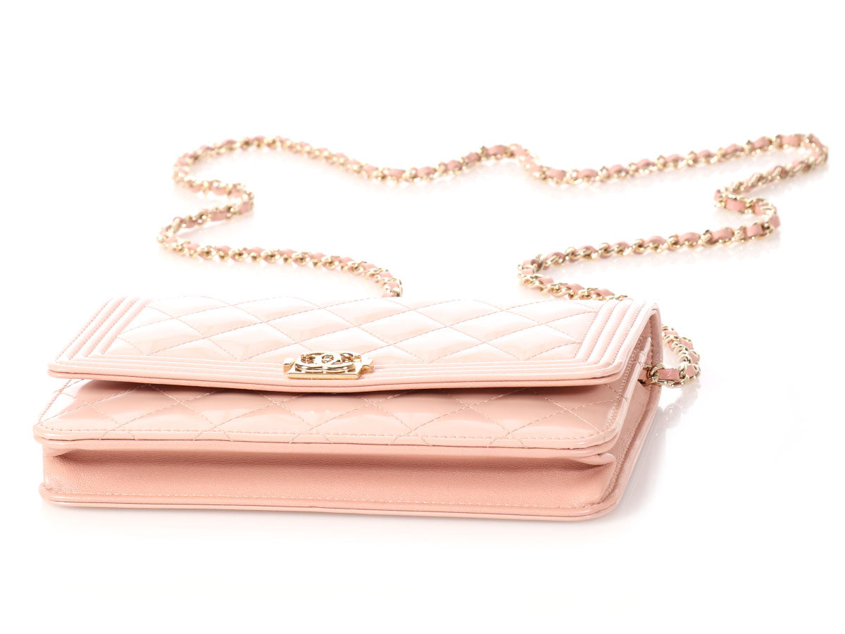 f4840db0dff0 Chanel Light Pink Quilted Patent Boy Wallet on a Chain WOC