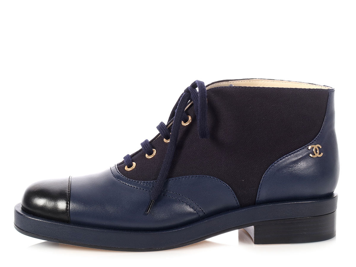 Chanel Navy and Black Lace Up Ankle Boots