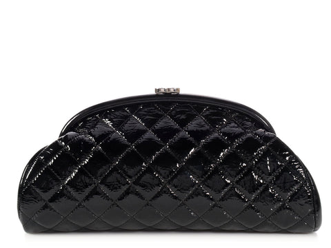 Chanel Black Distressed Quilted Patent Timeless Clutch
