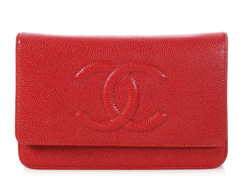 Chanel Red Caviar Timeless Wallet on a Chain WOC