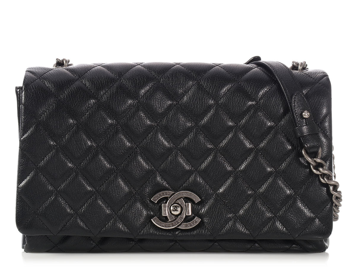Chanel Large Black Quilted Goatskin City Rock Flap