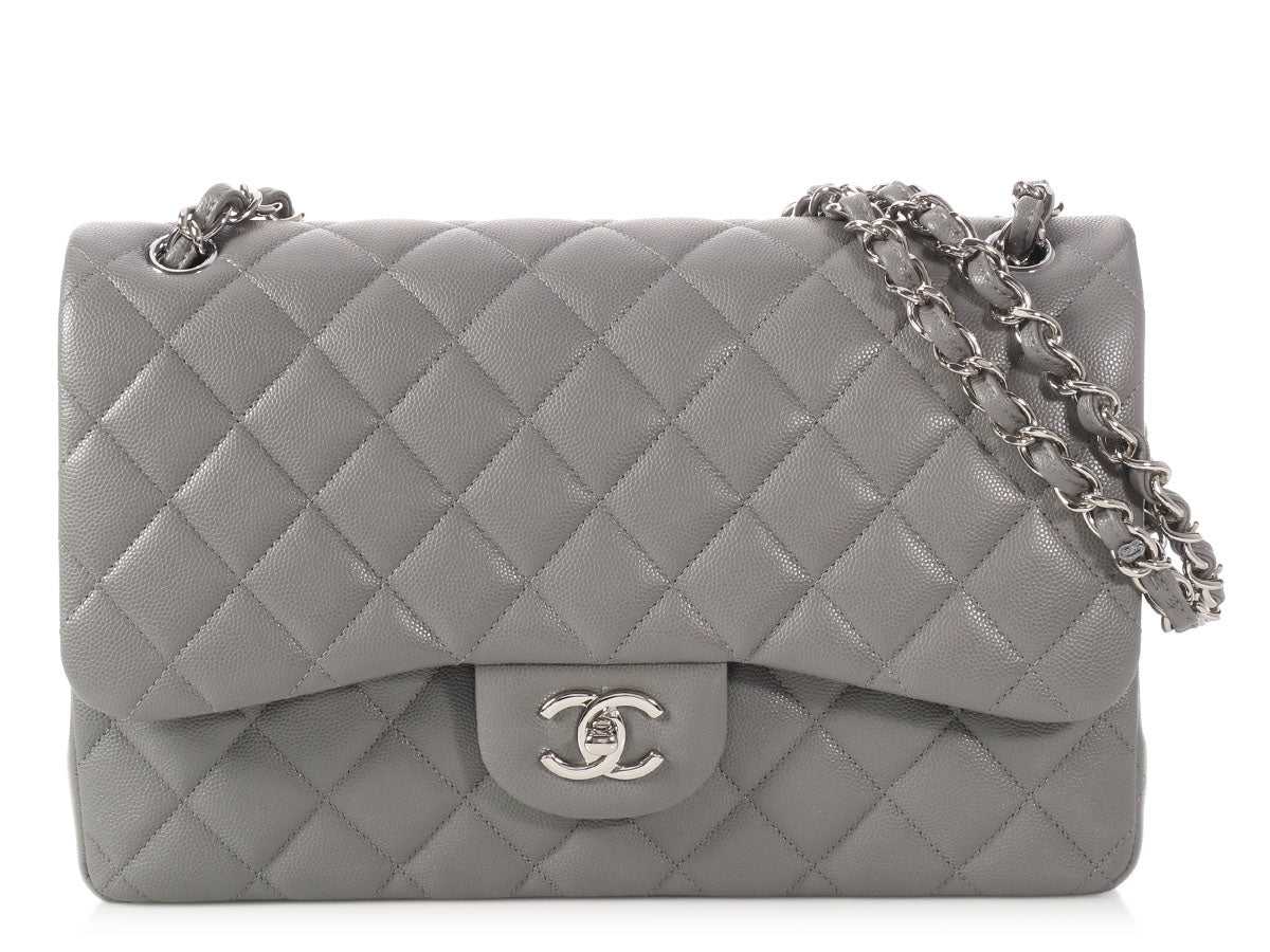 Chanel Jumbo Gray Quilted Caviar Classic Double Flap