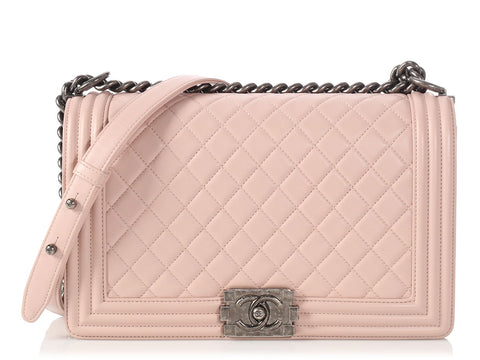 Chanel New Medium Light Pink Quilted Lambskin Boy Bag