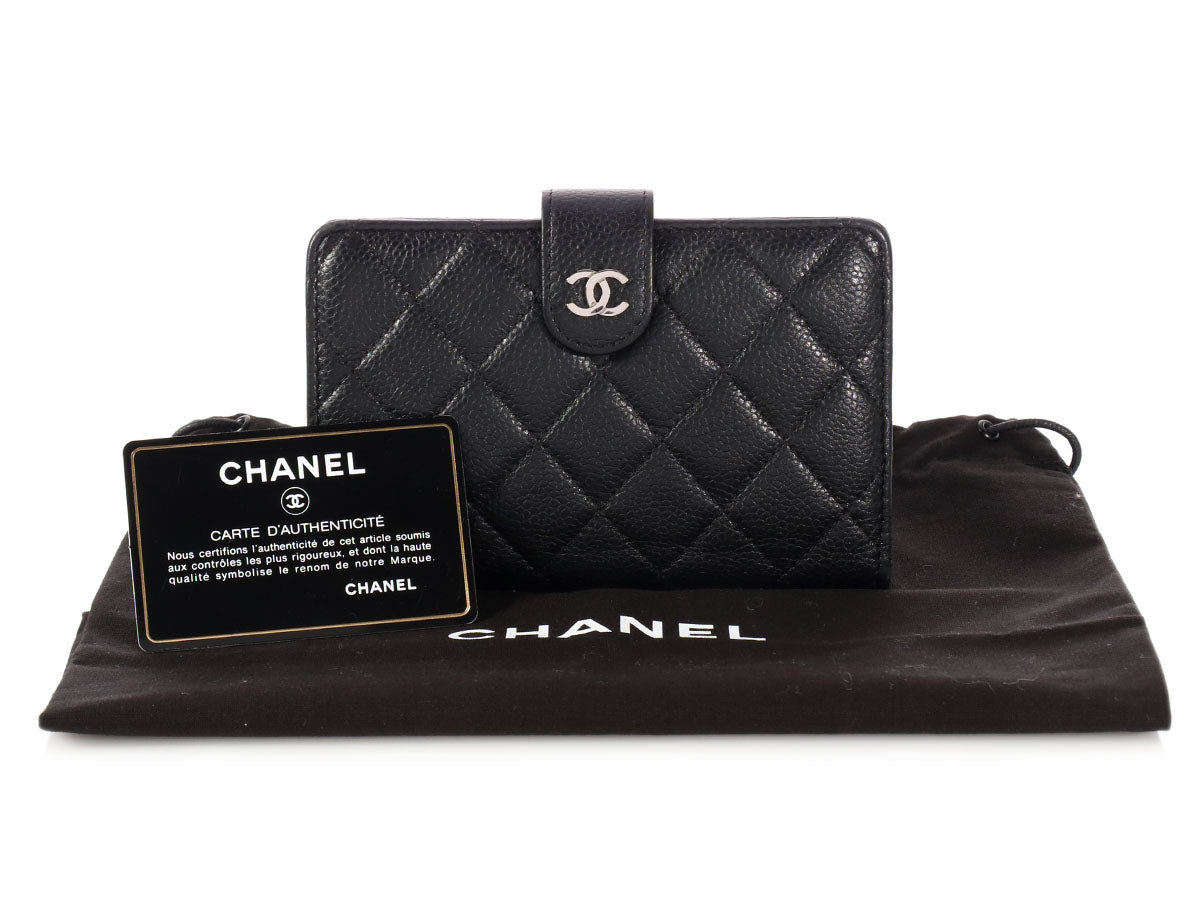 f3b7b5e98ac0 Chanel Black Quilted Caviar French Wallet