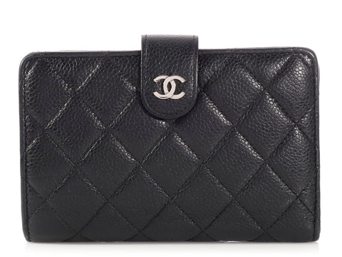 Chanel Black Quilted Caviar French Wallet
