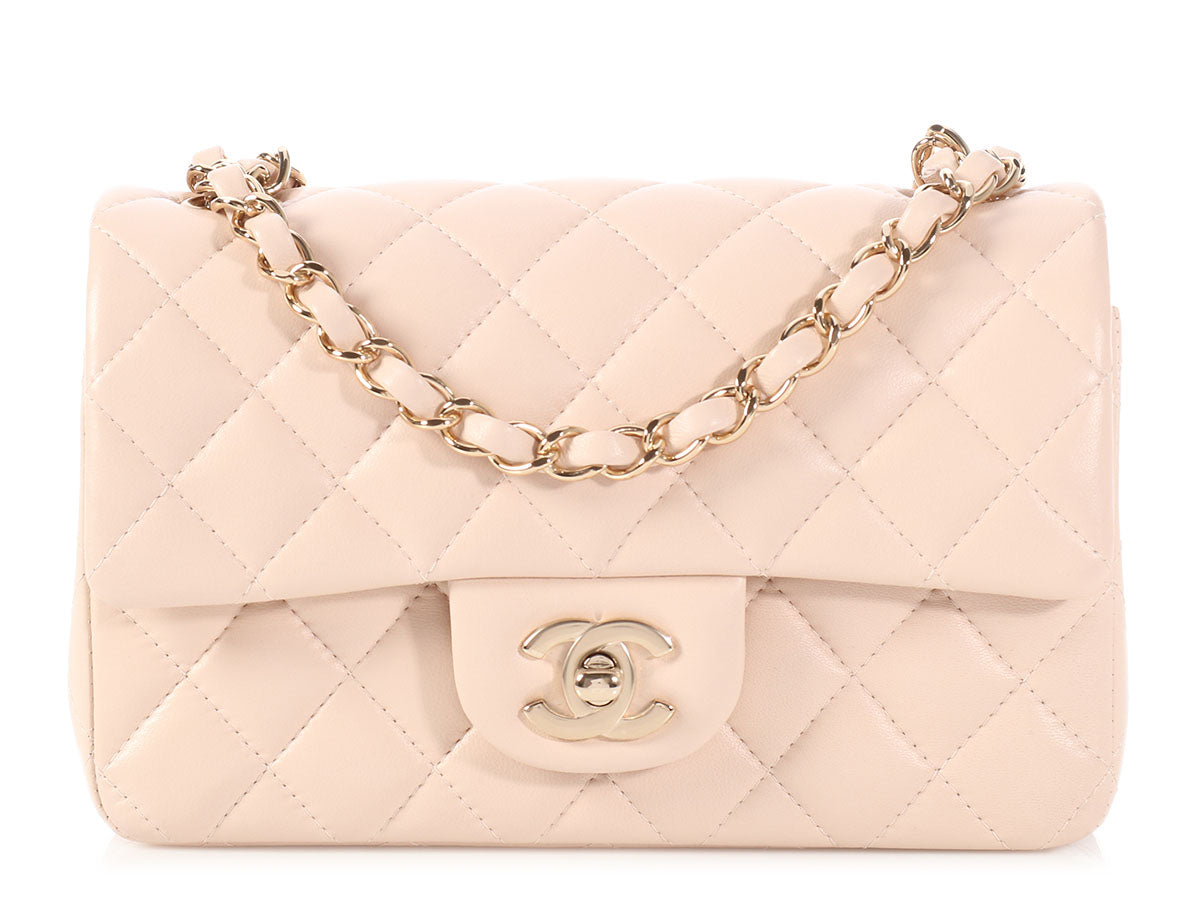 be97cee4d022a Chanel Mini Beige Quilted Lambskin Classic