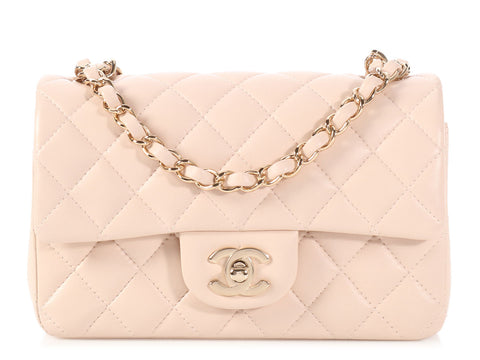 Chanel Mini Beige Quilted Lambskin Classic