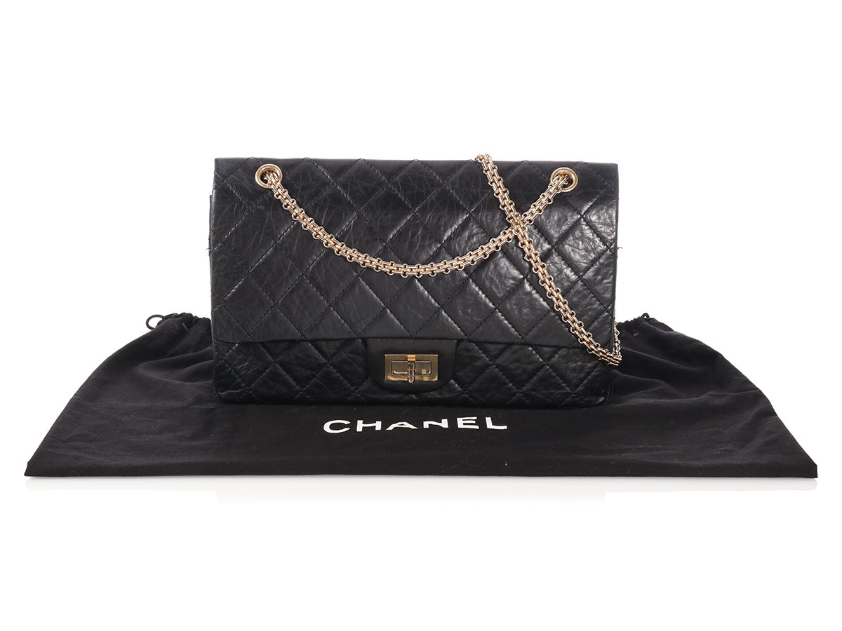b26dd24fa4869a Chanel Black Distressed Quilted Calfskin Reissue 227