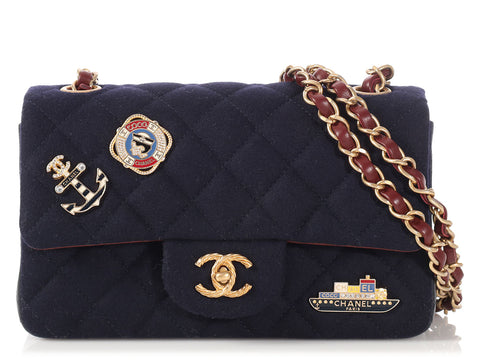 Chanel Mini Navy Quilted Wool Classic with Nautical Charms