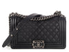 Chanel Old Medium Black Matte Grained Calfskin Boy