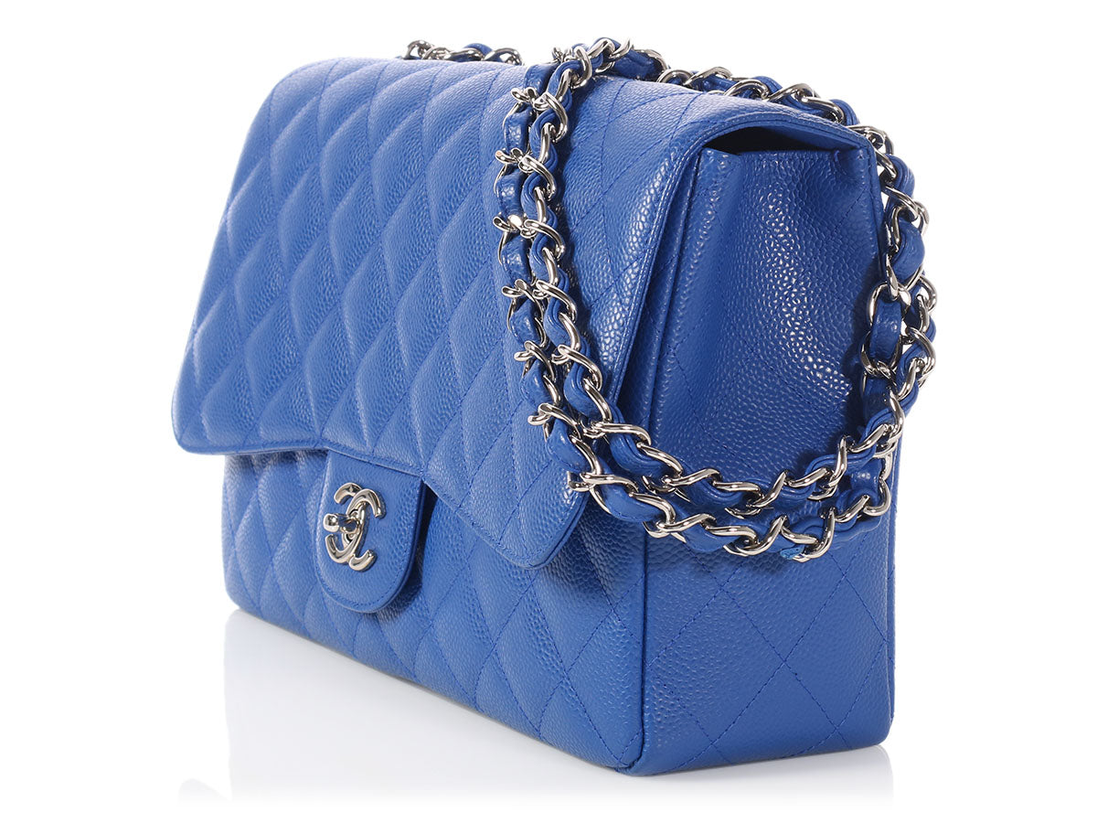 faba140fd230 Chanel Jumbo Royal Blue Quilted Caviar Classic Single Flap