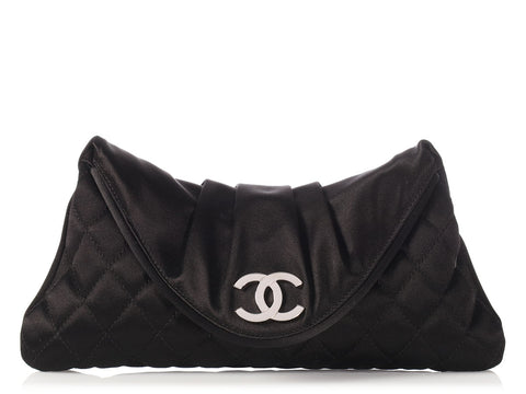 Chanel Black Quilted and Pleated Satin Clutch