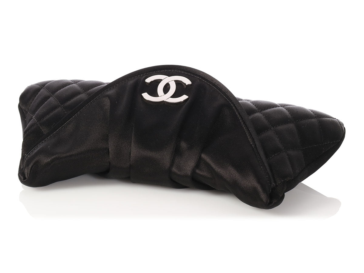 ff7dbdd3caa8 Chanel Black Quilted and Pleated Satin Clutch