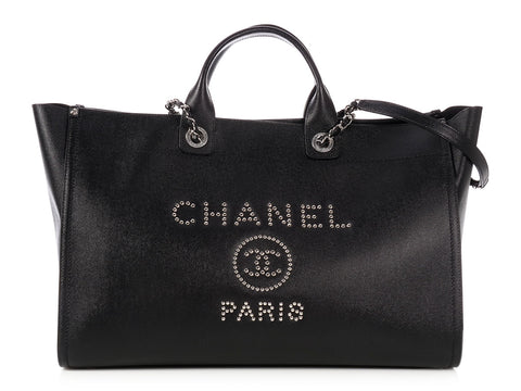 Chanel Extra Large Black Caviar Deauville Tote
