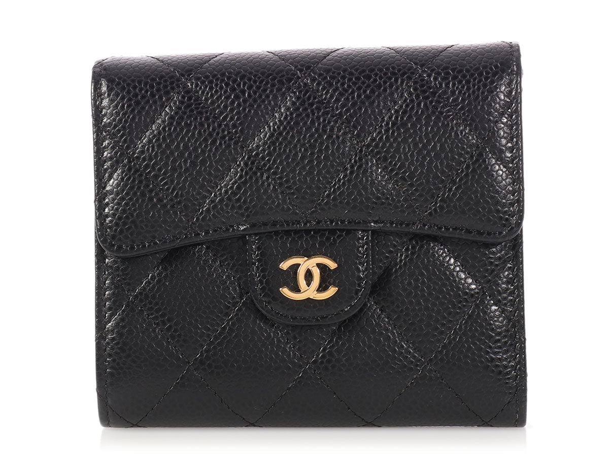 Chanel Black Quilted Caviar Compact Wallet