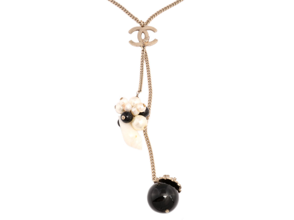 Chanel Shell and Bead Logo Necklace