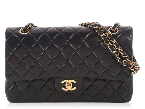 Chanel Vintage Medium/Large Black Quilted Lambskin Classic Double Flap