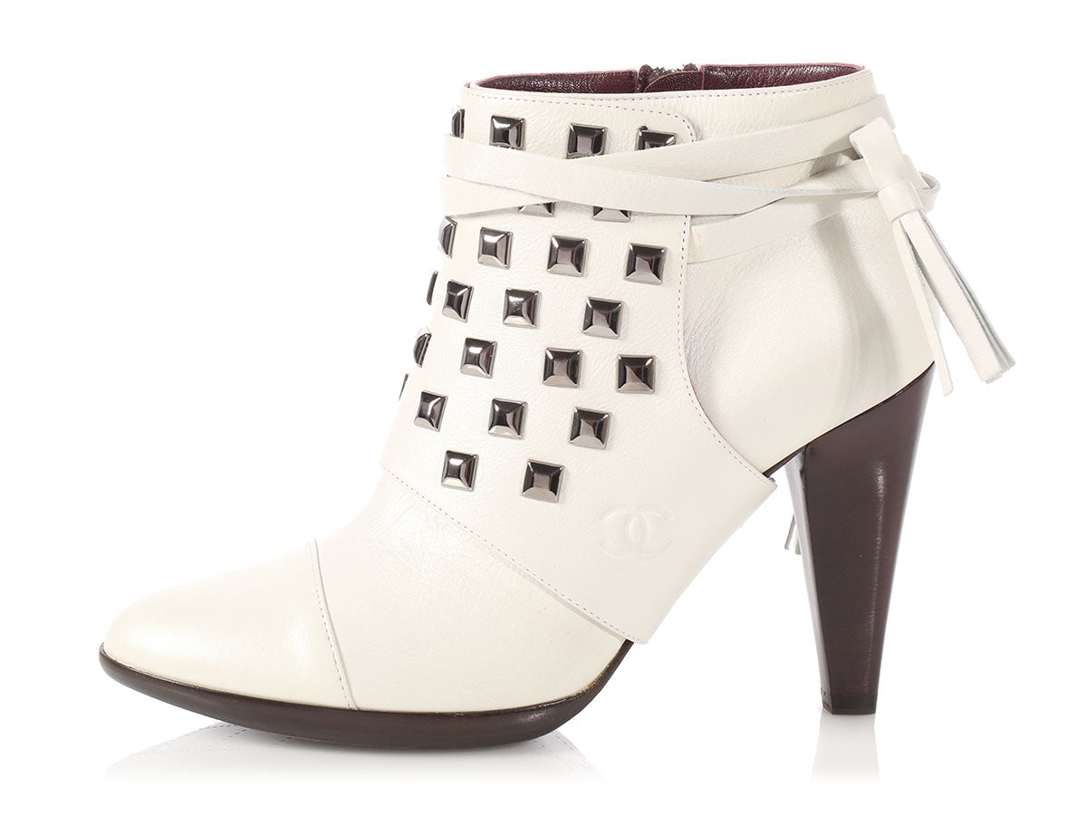 Chanel Off-White Studded Short Boots