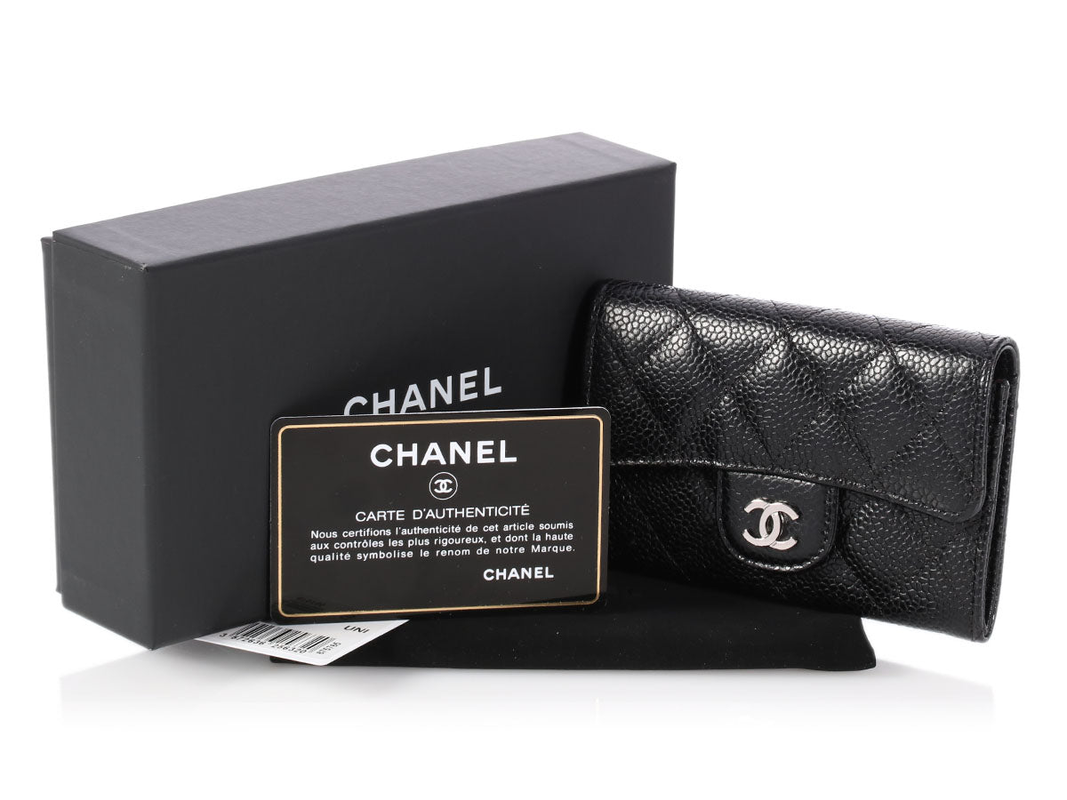 8d3664bc0ffb Chanel Black Quilted Caviar Card Case