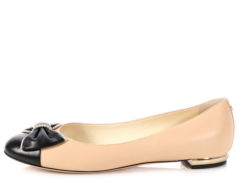 Chanel Faux Pearl Embellished Ballerina Flats