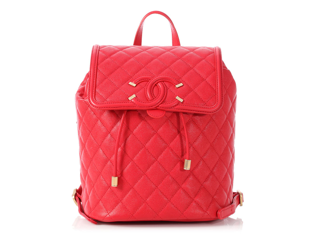 Chanel Red Caviar CC Filigree Backpack